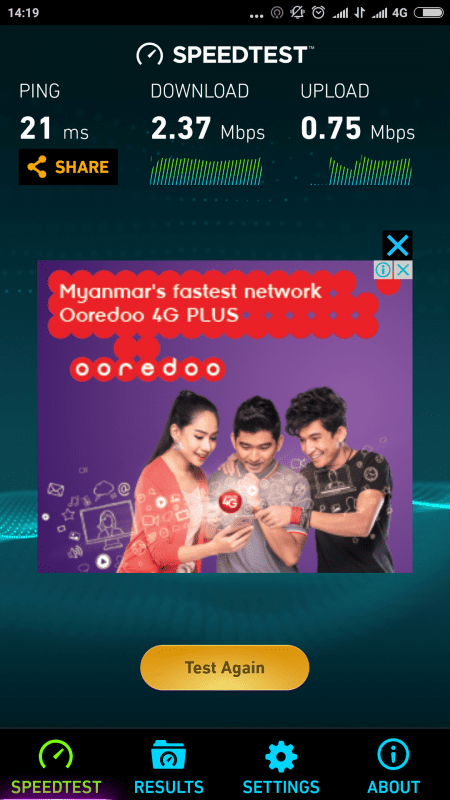 Ooredoo 4G Speedtest