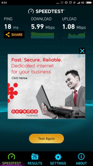 Ooredoo Myanmar 4G LTE Speedtest