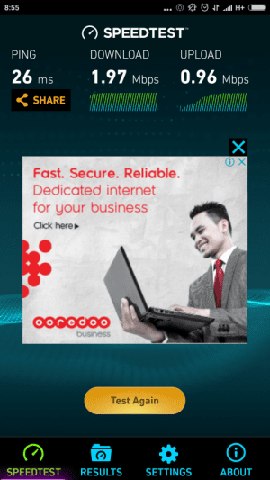 Ooredoo 3G Speedtest