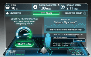 Telenor Myanmar 3G Speedtest